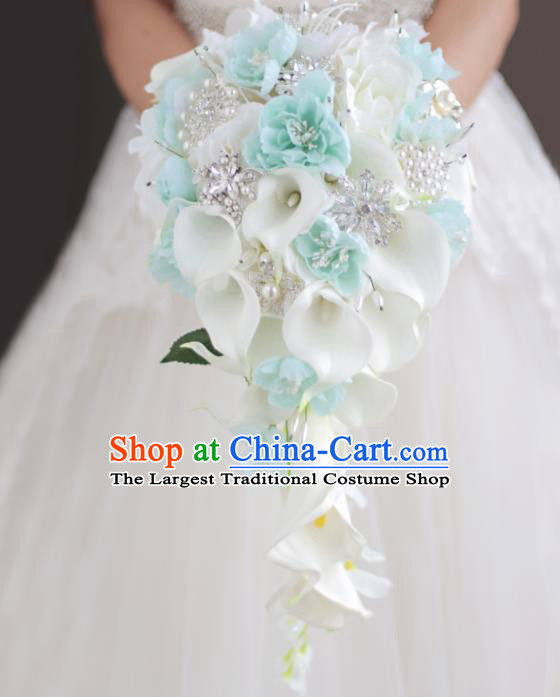 Top Grade Wedding Bridal Bouquet Hand White Common Callalily Flowers Bunch for Women