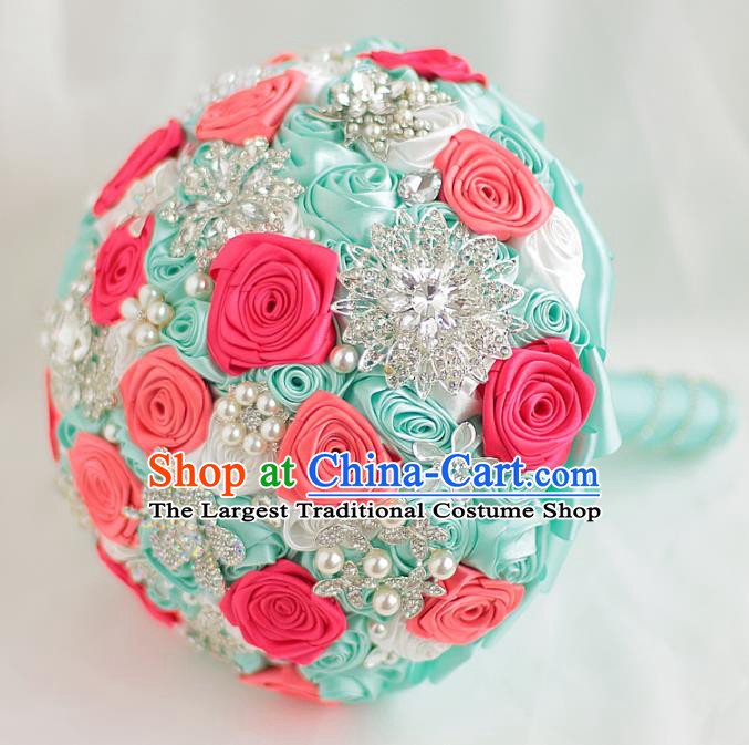 Top Grade Wedding Bridal Bouquet Hand Crystal Rose Flowers Bunch for Women