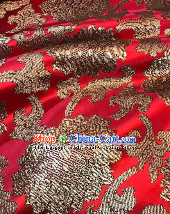 Asian Chinese Twine Lotus Pattern Red Brocade Fabric Traditional Silk Fabric Tang Suit Material