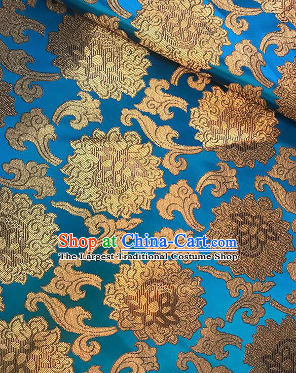 Asian Chinese Twine Lotus Pattern Blue Brocade Fabric Traditional Silk Fabric Tang Suit Material