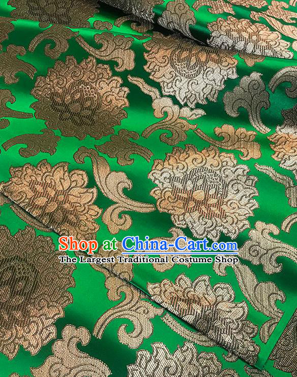 Asian Chinese Twine Lotus Pattern Green Brocade Fabric Traditional Silk Fabric Tang Suit Material
