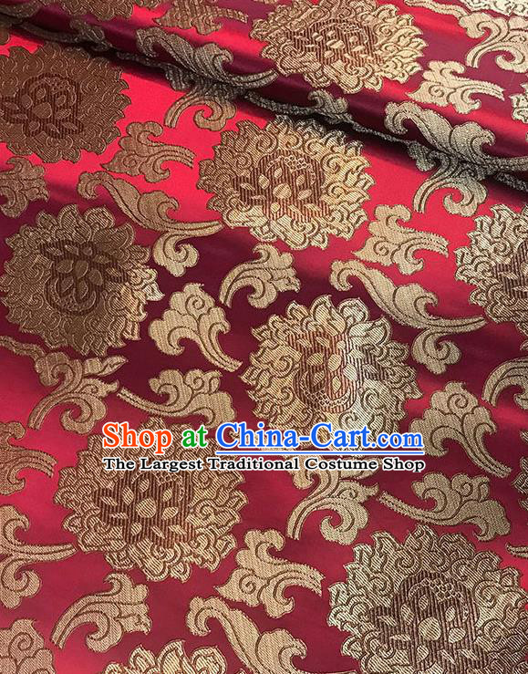 Asian Chinese Twine Lotus Pattern Wine Red Brocade Fabric Traditional Silk Fabric Tang Suit Material