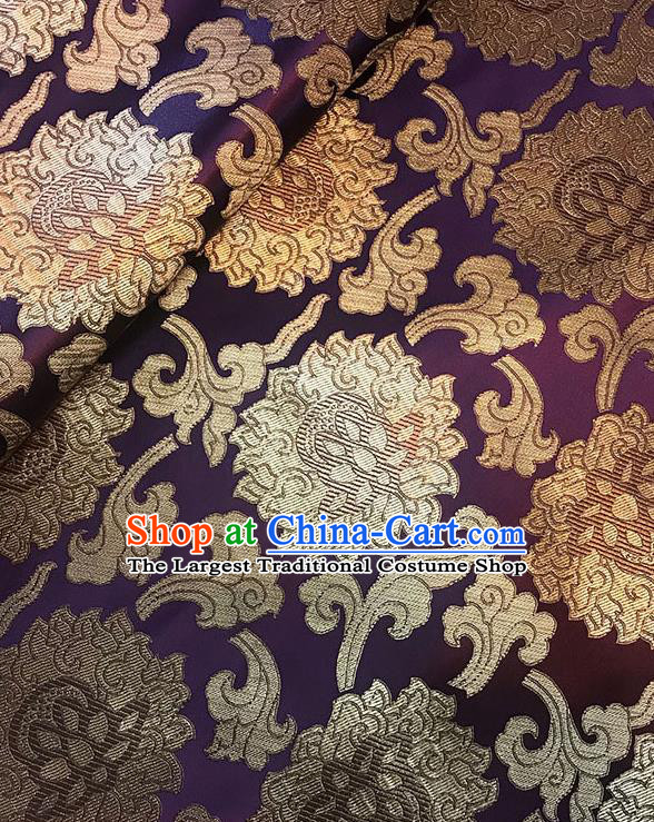 Asian Chinese Twine Lotus Pattern Purple Brocade Fabric Traditional Silk Fabric Tang Suit Material