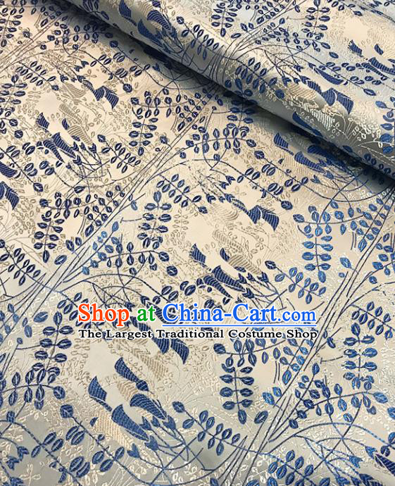 Asian Chinese Royal Pattern White Brocade Fabric Traditional Silk Fabric Tang Suit Material