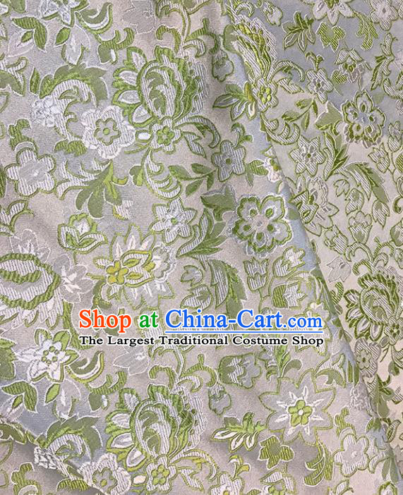 Asian Chinese Royal Flowers Pattern White Brocade Fabric Traditional Silk Fabric Tang Suit Material