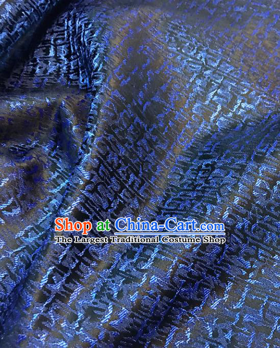 Asian Chinese Royal Pattern Blue Brocade Fabric Traditional Silk Fabric Tang Suit Material