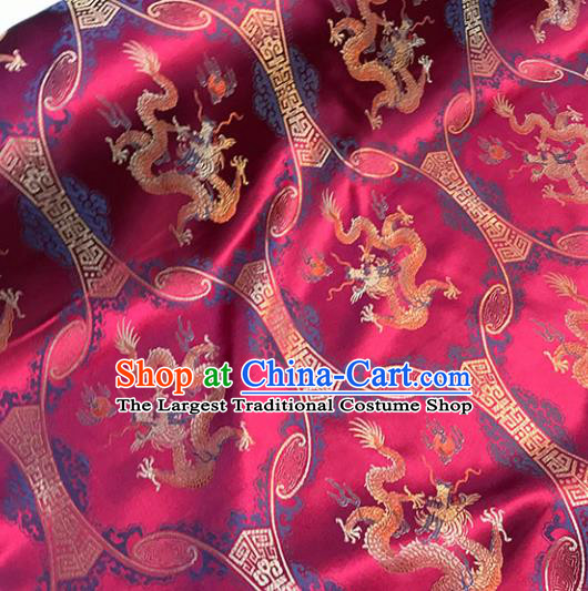 Asian Chinese Royal Dragons Pattern Red Brocade Fabric Traditional Silk Fabric Tang Suit Material