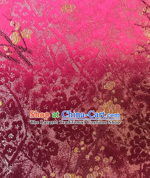 Asian Chinese Royal Plum Blossom Pattern Rosy Brocade Fabric Traditional Silk Fabric Tang Suit Material
