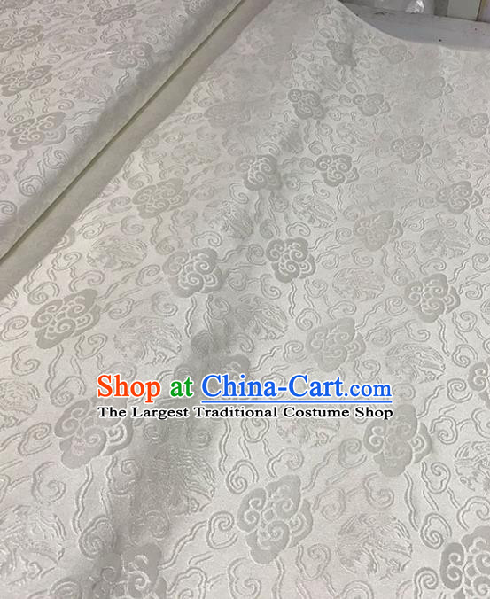 Asian Chinese Royal Clouds Pattern White Brocade Fabric Traditional Silk Fabric Tang Suit Material
