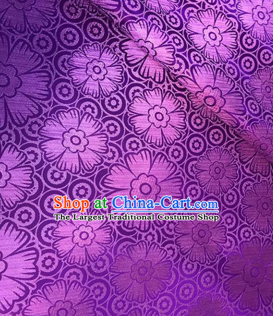 Asian Chinese Royal Flowers Pattern Purple Brocade Fabric Traditional Silk Fabric Tang Suit Material