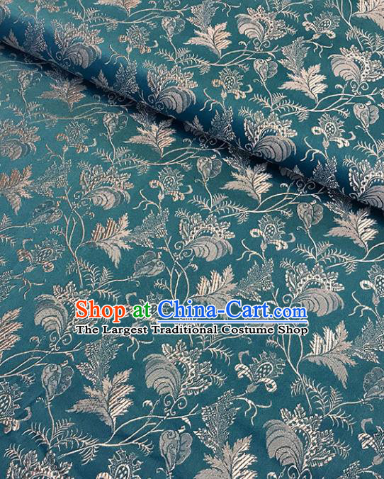 Asian Chinese Royal Twine Leaf Pattern Green Brocade Fabric Traditional Silk Fabric Tang Suit Material