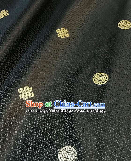 Asian Chinese Royal Scale Pattern Black Brocade Fabric Traditional Silk Fabric Tang Suit Material