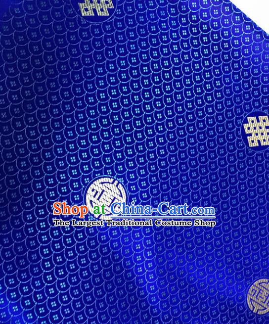 Asian Chinese Royal Scale Pattern Royalblue Brocade Fabric Traditional Silk Fabric Tang Suit Material