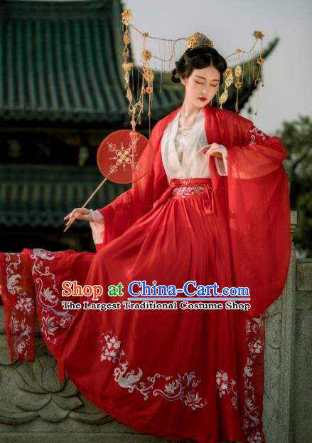Chinese Ancient Drama Palace Lady Costume Traditional Tang Dynasty Imperial Concubine Embroidered Hanfu Dress for Women