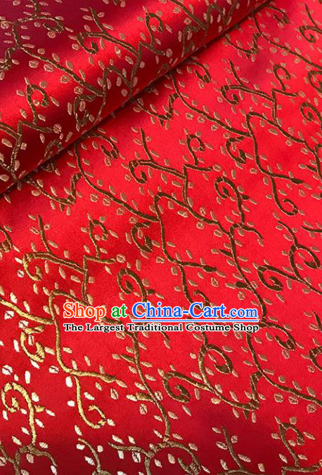 Asian Chinese Royal Sesame Flower Pattern Red Brocade Fabric Traditional Silk Fabric Tang Suit Material
