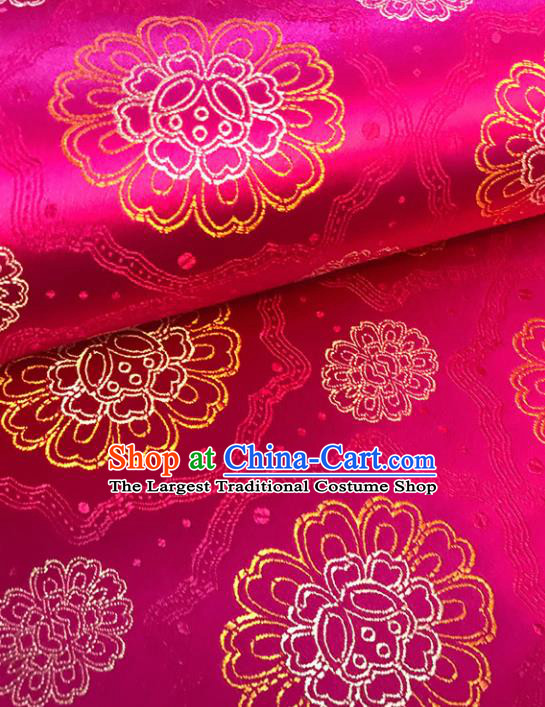 Asian Chinese Royal Flowers Pattern Rosy Brocade Fabric Traditional Silk Fabric Tang Suit Material