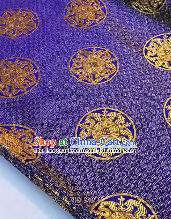 Asian Chinese Royal Scale Pattern Purple Brocade Fabric Traditional Silk Fabric Tang Suit Material