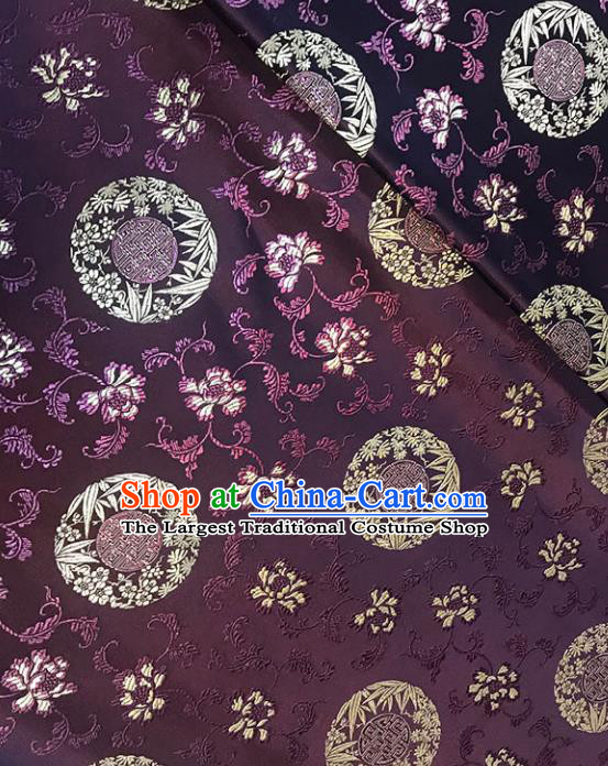 Asian Chinese Royal Bamboo Peony Pattern Purple Brocade Fabric Traditional Silk Fabric Tang Suit Material