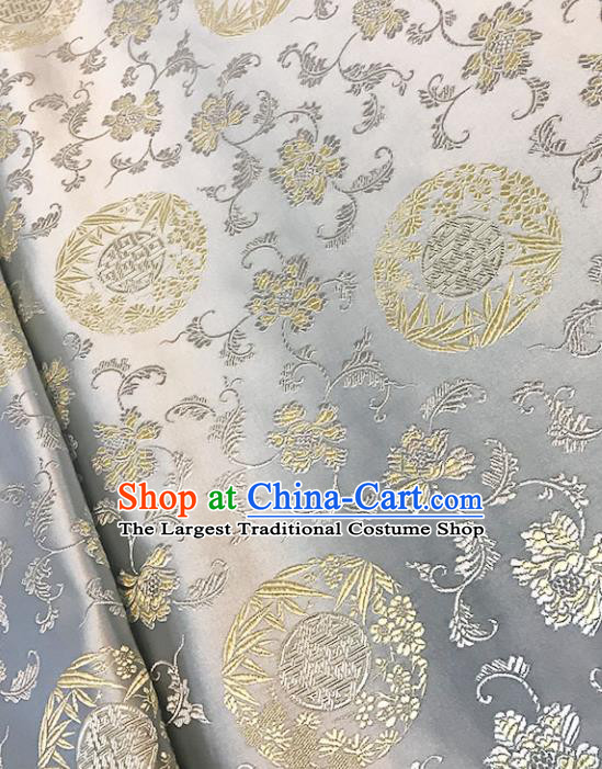 Asian Chinese Royal Bamboo Peony Pattern White Brocade Fabric Traditional Silk Fabric Tang Suit Material