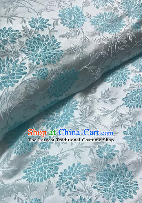 Asian Chinese Royal Blue Chrysanthemum Pattern Brocade Fabric Traditional Silk Fabric Tang Suit Material
