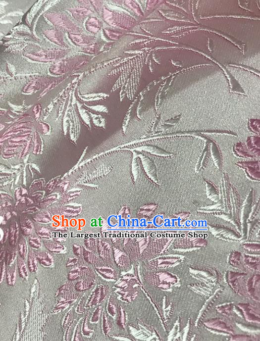 Asian Chinese Royal Pink Chrysanthemum Pattern Brocade Fabric Traditional Silk Fabric Tang Suit Material