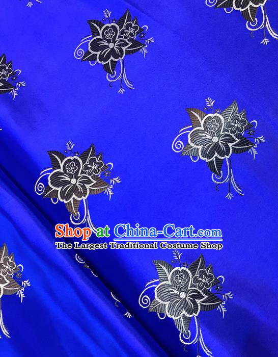 Asian Chinese Royal Pentas Pattern Royalblue Brocade Fabric Traditional Silk Fabric Tang Suit Material
