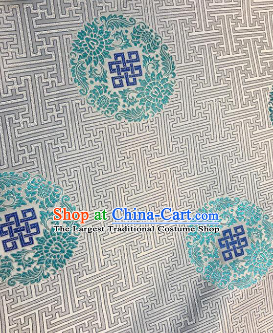 Asian Chinese Royal Peony Pattern White Brocade Fabric Traditional Silk Fabric Tang Suit Material