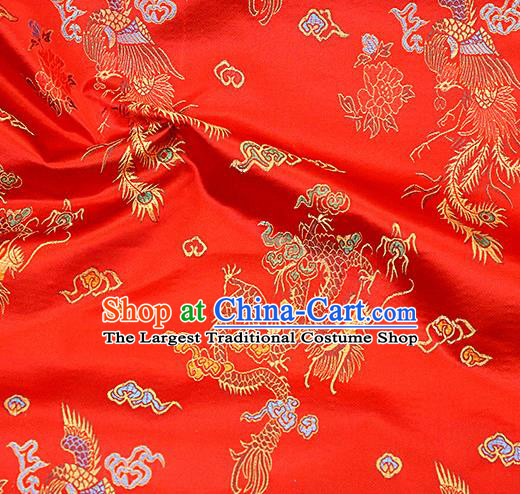 Asian Chinese Royal Dragon Pattern Red Brocade Fabric Traditional Silk Fabric Tang Suit Material