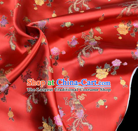 Asian Chinese Royal Phoenix Peony Pattern Red Brocade Fabric Traditional Silk Fabric Tang Suit Material