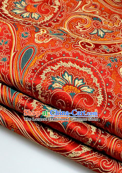 Asian Chinese Royal Sago Flower Pattern Red Brocade Fabric Traditional Silk Fabric Tang Suit Material