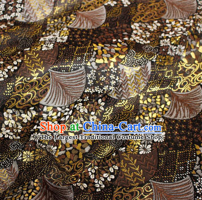 Asian Chinese Royal Fan Pattern Brown Brocade Fabric Traditional Silk Fabric Tang Suit Material
