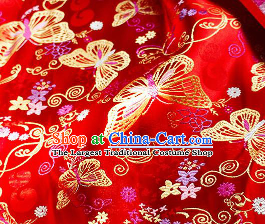 Asian Chinese Royal Butterfly Pattern Red Brocade Fabric Traditional Silk Fabric Tang Suit Material