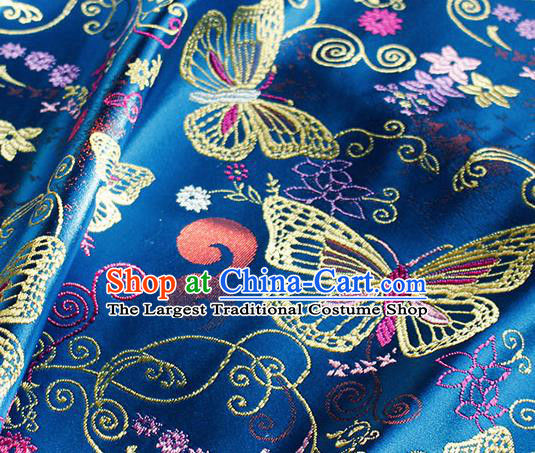 Asian Chinese Royal Butterfly Pattern Blue Brocade Fabric Traditional Silk Fabric Tang Suit Material