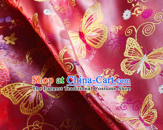 Asian Chinese Royal Butterfly Pattern Pink Brocade Fabric Traditional Silk Fabric Tang Suit Material