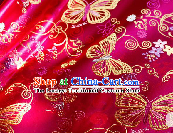 Asian Chinese Royal Butterfly Pattern Rosy Brocade Fabric Traditional Silk Fabric Tang Suit Material