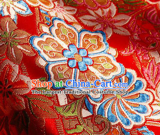 Asian Chinese Royal Hexagonal Flower Pattern Red Brocade Fabric Traditional Silk Fabric Tang Suit Material