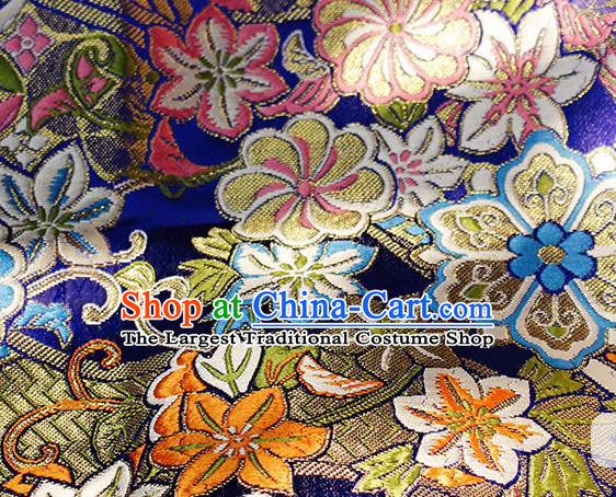 Asian Chinese Royal Hexagonal Flower Pattern Blue Brocade Fabric Traditional Silk Fabric Tang Suit Material