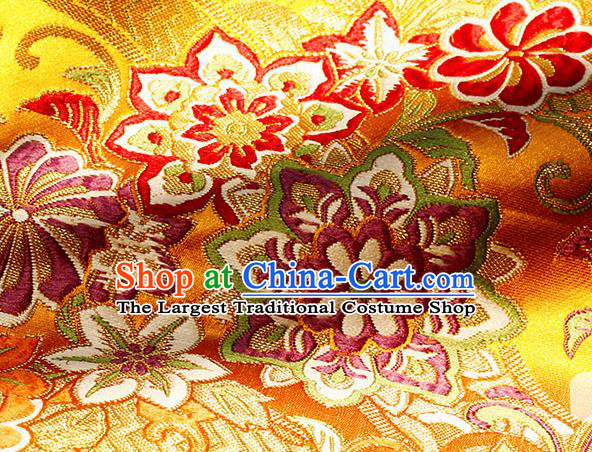 Asian Chinese Royal Hexagonal Flower Pattern Golden Brocade Fabric Traditional Silk Fabric Tang Suit Material