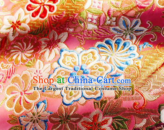 Asian Chinese Royal Hexagonal Flower Pattern Pink Brocade Fabric Traditional Silk Fabric Tang Suit Material