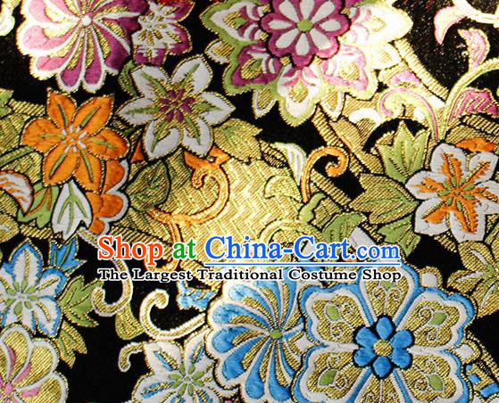 Asian Chinese Royal Hexagonal Flower Pattern Black Brocade Fabric Traditional Silk Fabric Tang Suit Material