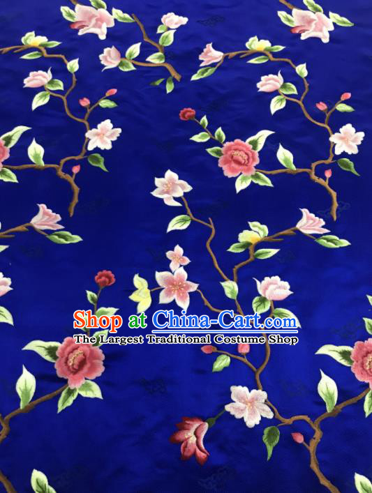 Asian Chinese Royal Embroidered Flowers Pattern Royalblue Brocade Fabric Traditional Cheongsam Silk Fabric Material