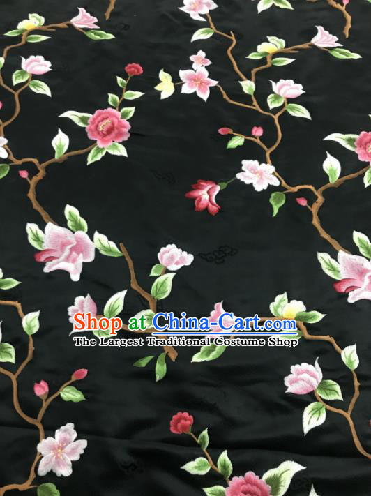 Asian Chinese Royal Embroidered Flowers Pattern Black Brocade Fabric Traditional Cheongsam Silk Fabric Material