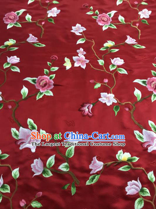 Asian Chinese Royal Embroidered Flowers Pattern Red Brocade Fabric Traditional Cheongsam Silk Fabric Material