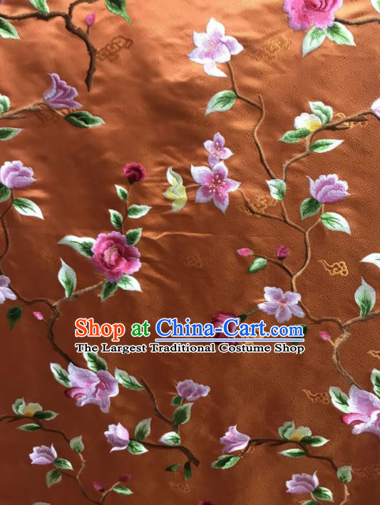 Asian Chinese Royal Embroidered Flowers Pattern Bronze Brocade Fabric Traditional Cheongsam Silk Fabric Material