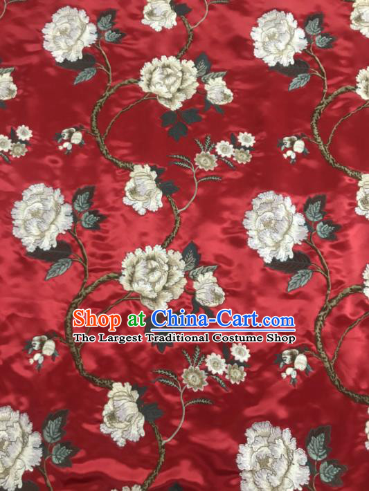 Asian Chinese Royal Embroidered Peony Pattern Red Brocade Fabric Traditional Cheongsam Silk Fabric Material
