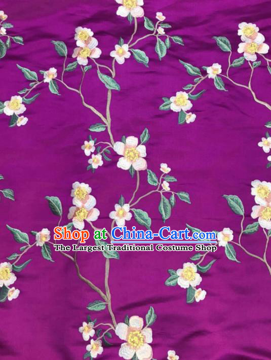 Asian Chinese Royal Embroidered Flowers Pattern Purple Brocade Fabric Traditional Cheongsam Silk Fabric Material