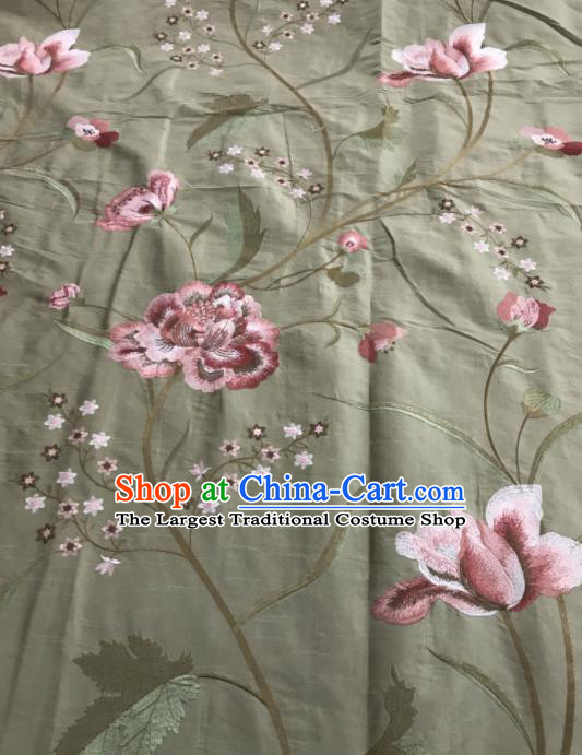 Asian Chinese Royal Embroidered Peony Pattern Grey Brocade Fabric Traditional Cheongsam Silk Fabric Material
