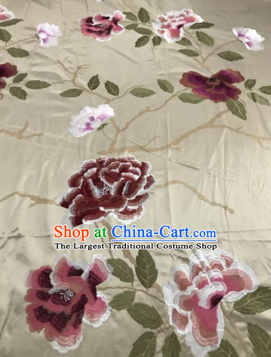 Asian Chinese Royal Embroidered Peony Pattern White Brocade Fabric Traditional Cheongsam Silk Fabric Material