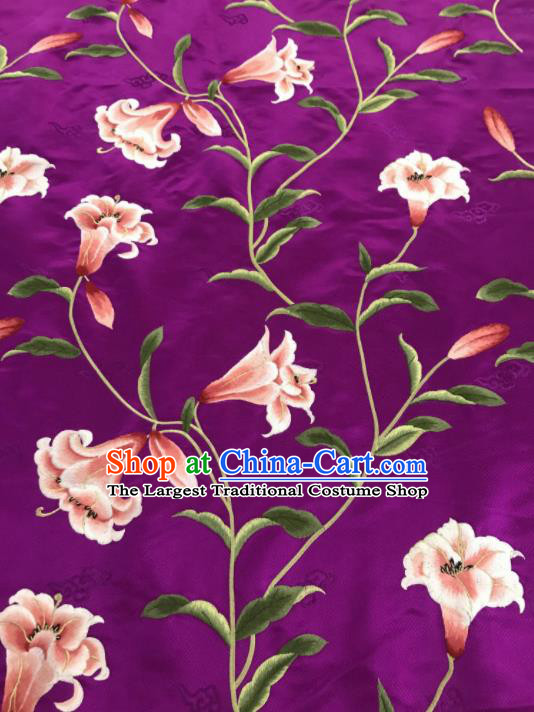 Asian Chinese Embroidered Greenish Lily Flower Pattern Purple Brocade Fabric Traditional Cheongsam Silk Fabric Material