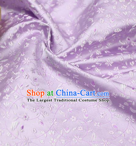 Asian Chinese Royal Wheat Flowers Pattern Light Purple Brocade Fabric Traditional Silk Fabric Tang Suit Material